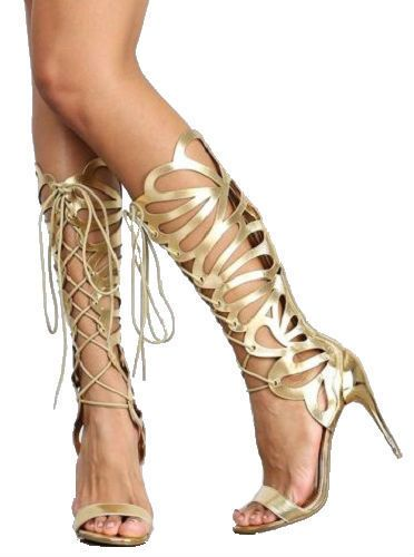 Gold Lace Up High Heels
