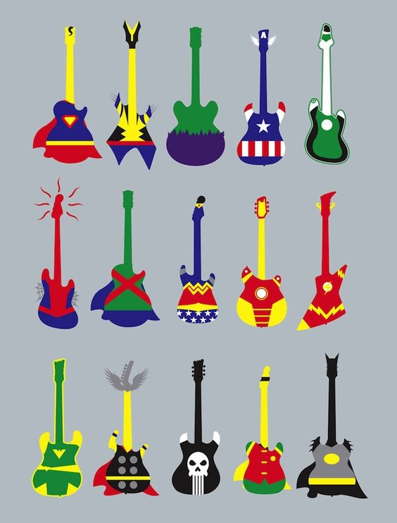 Your Favorite Superheroes Re-Imagined As Guitars. You Know, 'Guitar Heroes.'