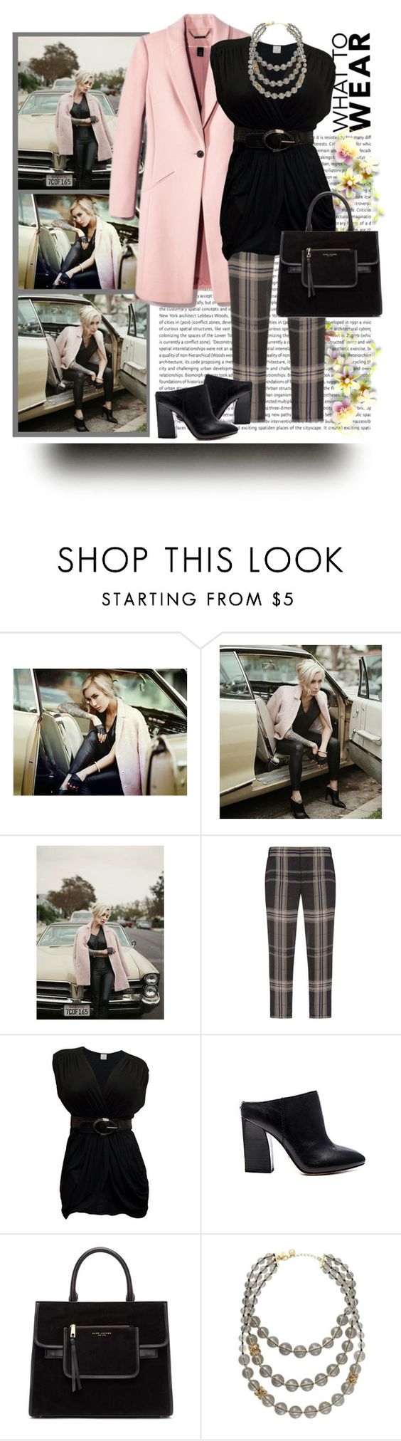 """Vera Wang Plaid Print Silk Pants"" by ldumperth ❤ liked on Polyvore featuring Vera Wang, Pour La Victoire, Marc Jacobs and Kate Spade"