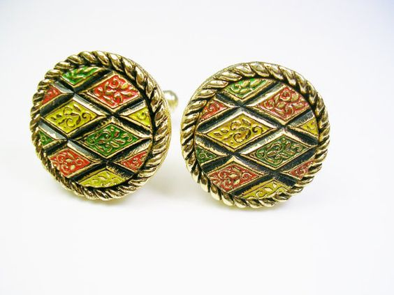 Vintage Sarah Coventry Cufflinks multi color by unclesteampunk