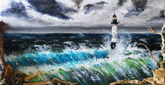 L'INFERNO DEGLI INFERNI  Tecnica mista, acrilico e legno restituito dal mare su tela illuminata.  200 x 100 cm