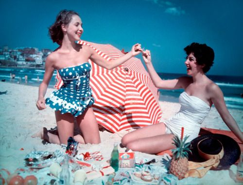 Girls enjoying a Christmas party on Bondi Beach, Sydney Australia, 1959.