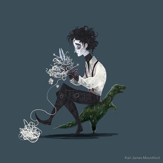 Edward tejiendo: