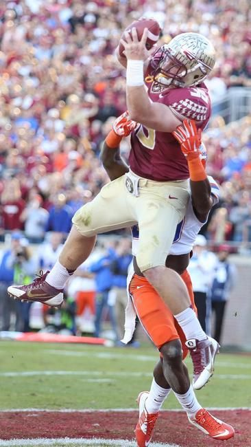 Nick O'Leary treating Gator defenders like tackling dummies... Accurate. :) ~~~ FSU Seminoles - Orlando Sentinel