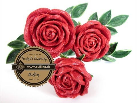 Learn How To Make This Realistic Paper Quilling 3d Rose With This Detailed Video Tutorial These Are Good Size Roses An Quilling Quilling Flowers Paper Flowers