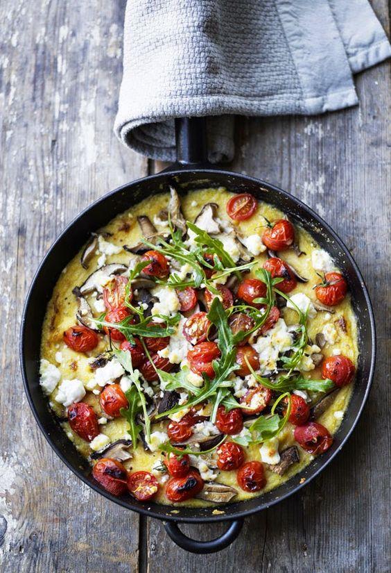 Polenta bake: polenta, cherry tomatoes, mushrooms and feta cheese. #OvoLactoVegetarian