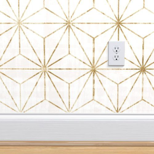 Star Geo White Gold Geometric Removable Wallpaper Peel And Stick Wallpaper Wallpaper Panels