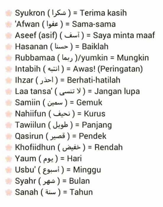 Arabic Malay Kata Kata Indah Kosakata Ungkapan Romantis