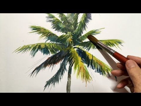 Eng Sub Watercolor Tree Painting Easy Tutorial 5 Palm Tree