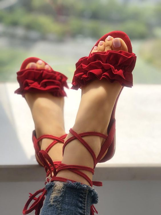 Frills Tassel Embellished Strappy Flat Sandals