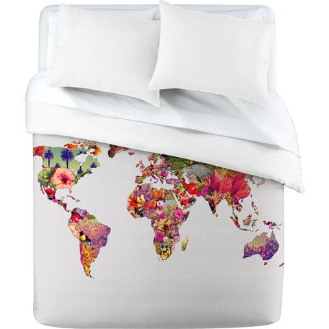 """Upgrade your comforter with the Bianca Green """"Its Your World"""" map duvet cover by DENY Designs. #map #bedding"""