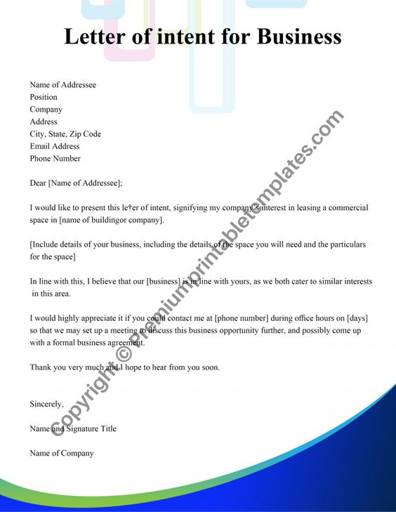 Letter Of Intent For Business Pack Of 5 Premium Printable Templates Letter Of Intent Lettering Intentions