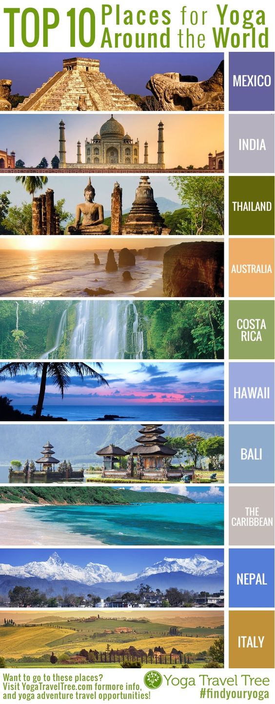 Top 10 Yoga Destinations World Wide. If you're thinking of going on a yoga retreat, don't waste your time with other places! Check out www.YogaTravelTree.com for Yoga Adventure Retreats and travel tips!