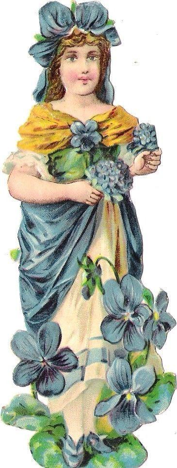 Oblaten Glanzbild scrap die cut chromo Blumen Mädchen flower child Elfe Veilchen: