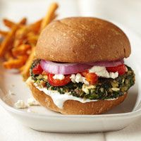 Greek spinach veggie burgers. Excellent for meatless Mondays.