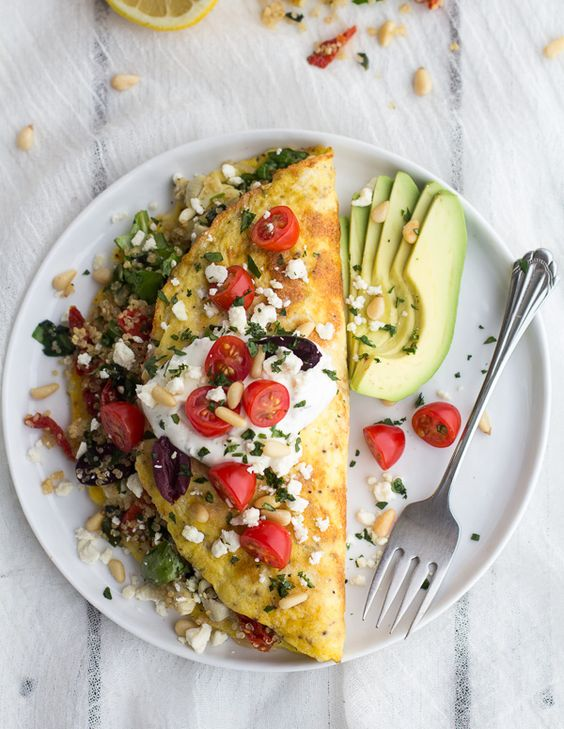 Mad Greek Quinoa Dinner Omelets with Feta and Tzatziki | halfbakedharvest.com: