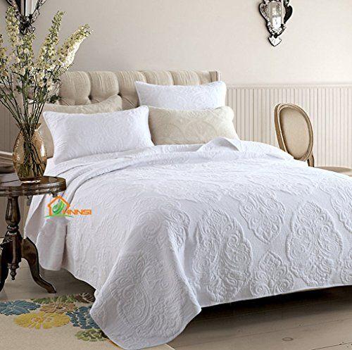 Hhnsi 3 Pieces White Vintage Flora Quilt Comforter Coverlet Sets Queen Size Cotton Comfy Bedspread Bedding Sets Quilt Vintage Bed Bed Spreads Bed Sheet Sets
