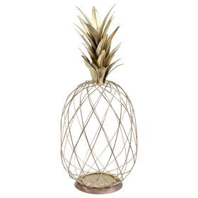 HANGING GOLD WIRED PINEAPPLE 8X19