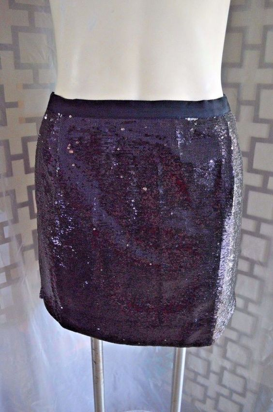 Women's J. Crew Navy Purple Silver Grosgrain Pleat Front Sequined Mini Skirt - 4…