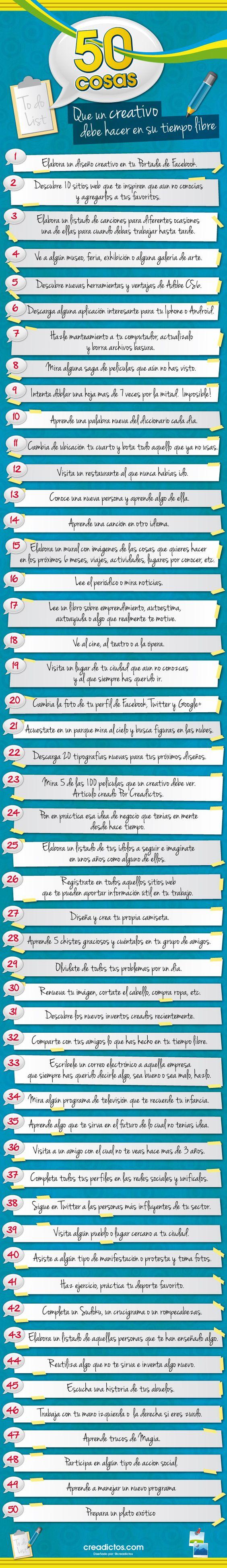 Infografía en español que muestra 50 cosas que un creativo debe hacer en su tiempo libre