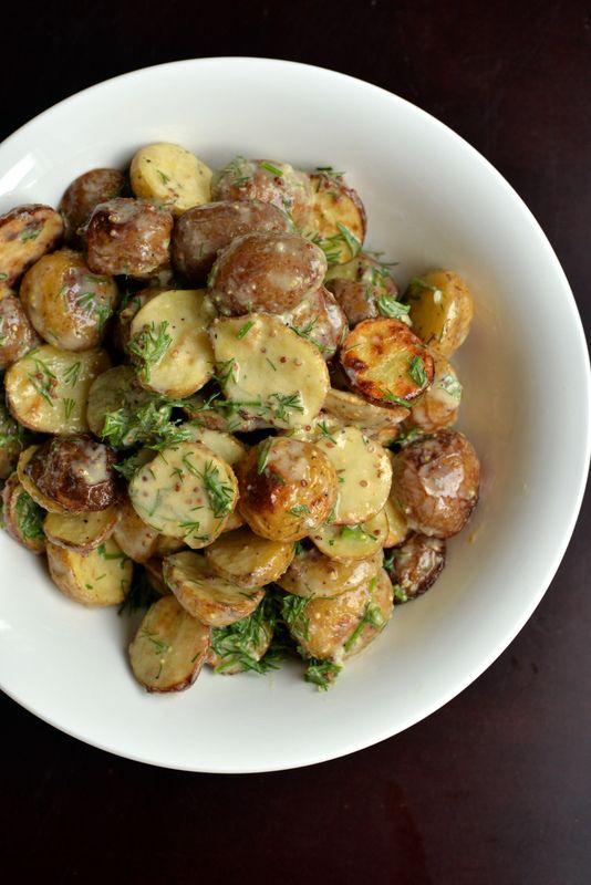 Vegan Creamy Lemon-Dill Roasted Potato Salad