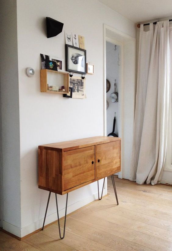 MID CENTURY CREDENZA, Danish Modern Side Table, European Beechwood Side Drawer, Retro Sideboard, Modern Cabinet, Hairpin Leg Furniture