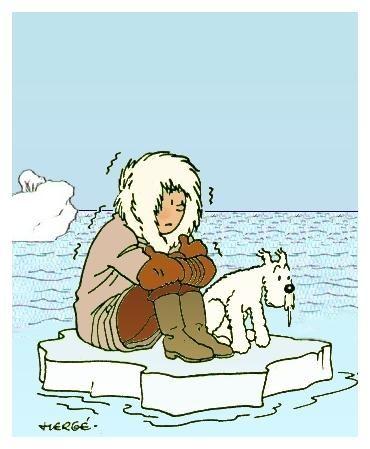 流氷の上で寒さに震えるタンタンの画像