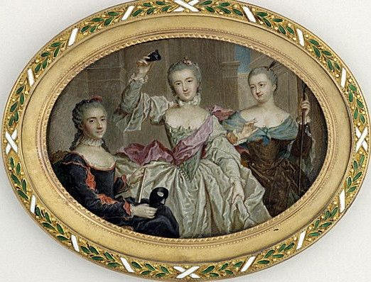 A miniature of three unidentified daughters of Louis XV in their masquerade costumes in 1758