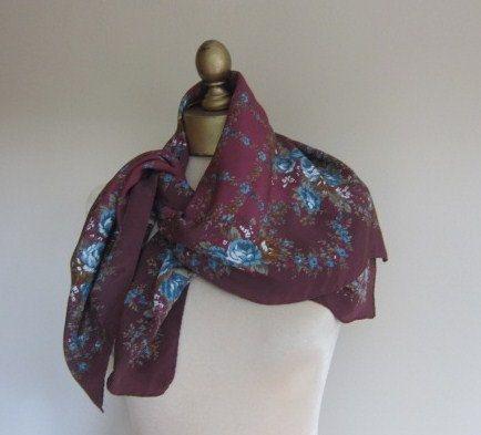 Laura Ashley vintage floral silk scarf 70s by foulardfantastique, $28.00