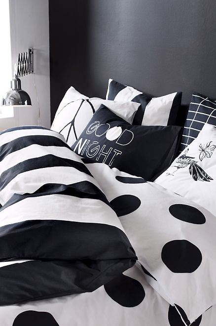 Black and white bedroom. Add some mix and match black and white fabrics to create this look. I like these colors! Very relaxing to me!