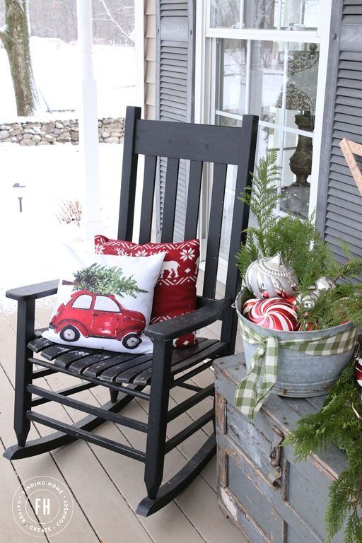 Traditional and vintage combine to create a pretty space for your front porch Christmas decorating.