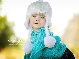 Jamie Rae Hats Girls Snow White Winter Wimple Hat w Pure White Rose