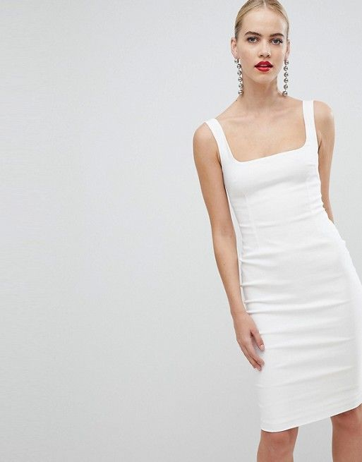 Vesper Square Neck Pencil Dress In White How To Style Square Neckline Pieces By Notjessfashion Pencil Dress Maxi Dress Prom White Dress