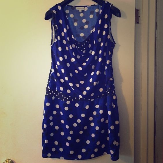 New York and Company polka dot dress Short, blue and black polka dot dress from New York and Company. When worn the top is looser and the waist down fits snugly. New York & Company Dresses Mini