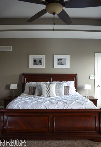Home tour part 2 master bedroom bed frame and headboard craftsman and dark wood furniture Master bedroom with grey furniture