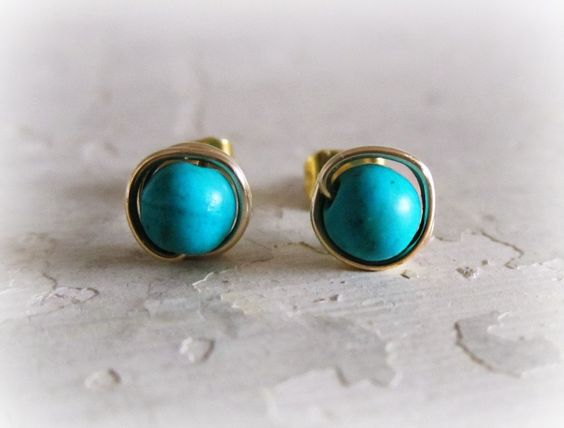 Turquoise Gold Stud Earrings /16
