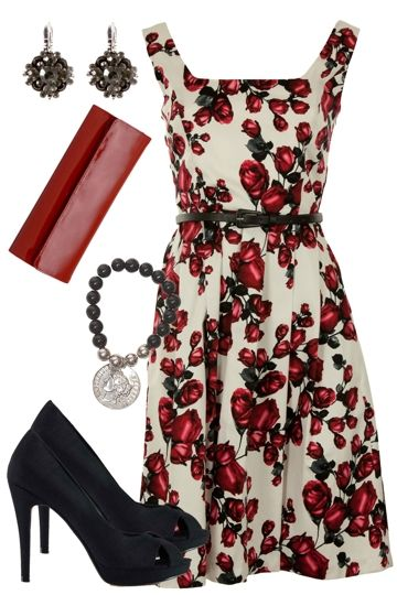 Pretty dress, and the image links to a cool clothing website with pre-styled outfits