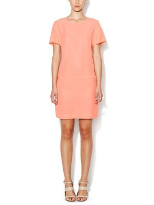 Soft Twill Shift Dress with Seamed Waist
