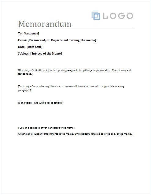 Download the Sample Memo Letter Template from Vertex42 - meeting memo