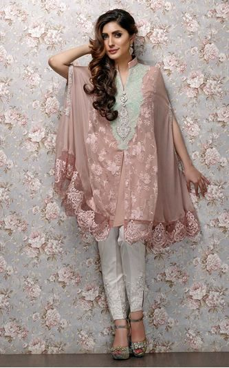 Stitching Styles Of Pakistani Dresses Brown Cape Style
