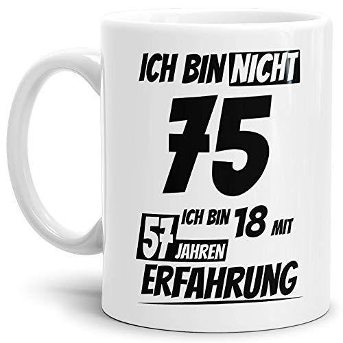Geburtstags Tasseich Bin 75 Mit 57 Jahren Erfahrung Weiss