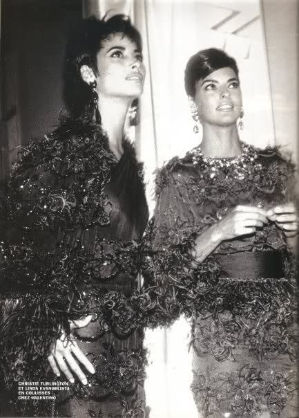 Christy Turlington & Linda Evangelista backstage at Valentino (early 90s)