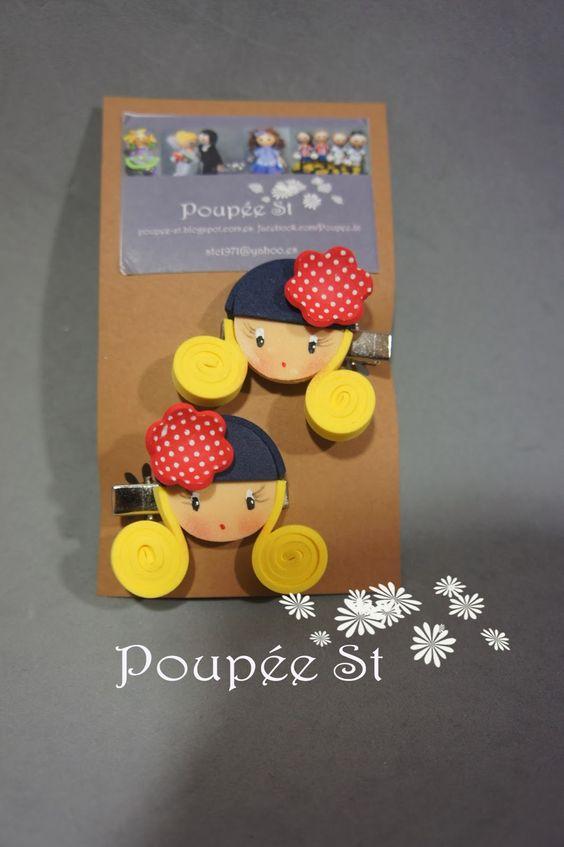 """Poupée ST: Horquillas y pinzitas """"Caritas con sombrero"""""""