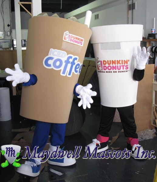 Dunkin' Donuts Iced Coffee and Hot Coffee mascots