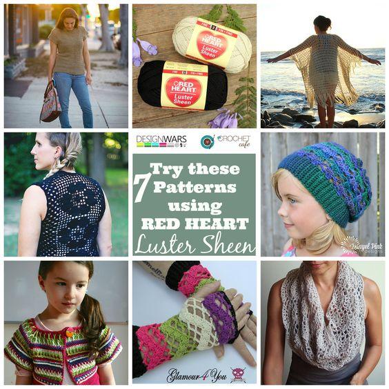 ... Crochet Patterns for Red Heart Yarns Luster Sheen Sport weight yarn