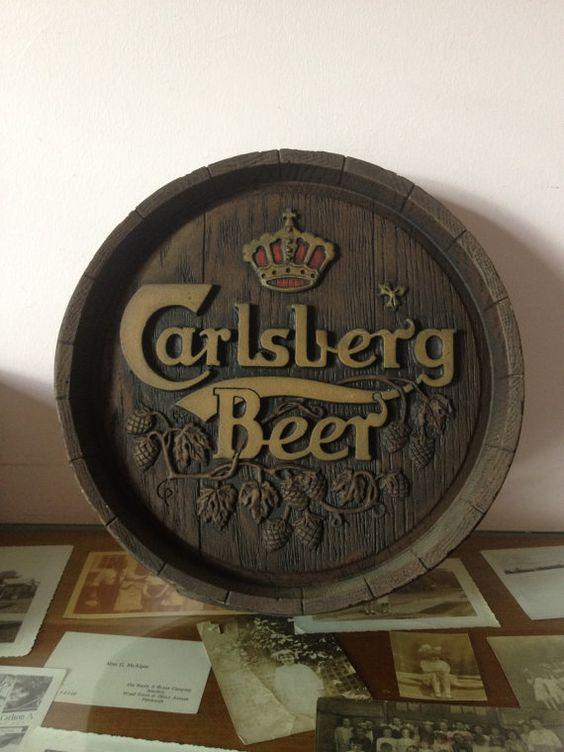 Original Vintage Poster Canadian Sellers Art Beer Art 1980s Danish Carlsberg Beer Poster BACK SOON Bar Wall Decor Man Cave