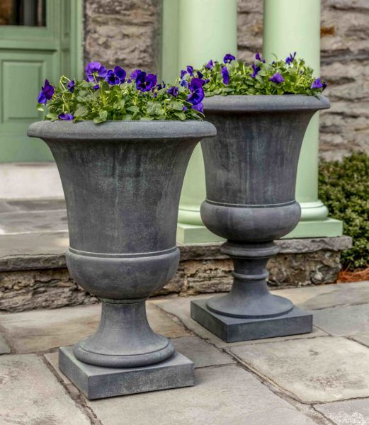 Kinsey Garden Decor Paris Outdoor Tall Urn Goblet Planters For Patio Front Door Or Driveway Entrance Container Gardening Idea Urn Planters Planters Cast Stone