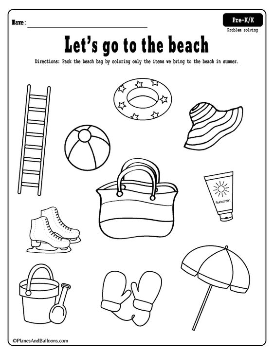 Fun free printable beach coloring page and summer worksheets to practice reasoning skills during summer. #preschool #kindergarten