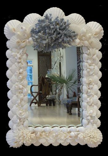 Shell Framed Mirror Seashell Nautical Furniture