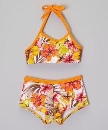 www.makenasurfwear.com Loving this Orange Flower Halter Bikini - Toddler & Girls on #zulily! #zulilyfinds